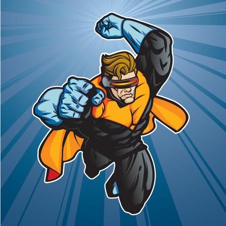 visor: Super hero with visor getting ready for action