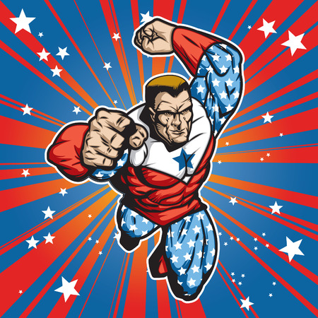 Patriotic superhero figure flying forward at a fast pace