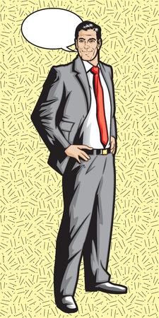 hombre guapo: 1950 1960 hombre de la historieta con la burbuja de la palabra Vectores
