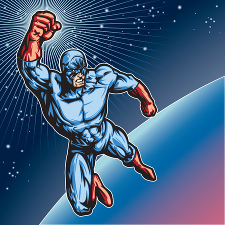 fists: Generic superhero figure flying in space.