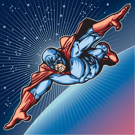 space: Generic superhero figure flying in space.