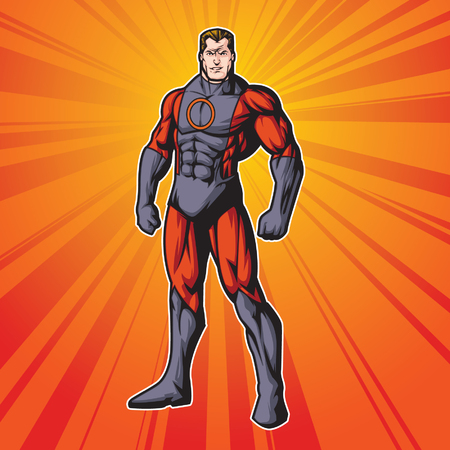 cartoon superhero: Generic superhero figure standing proud.  Layered  easy to edit. See portfolio for other images.