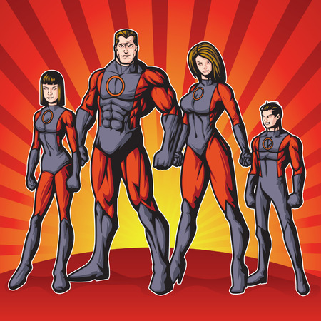 Generic superhero family standing proud.  Layered  easy to edit. See portfolio for other images. Stock Illustratie