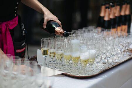 Drinks at an event close up Foto de archivo