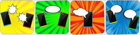 Set of phones with speech comics bubbles. Creative concept vector comic pop art style blank. Line art design for web, site, advertising, banner, poster, board and print.Pop Art vintage illustration