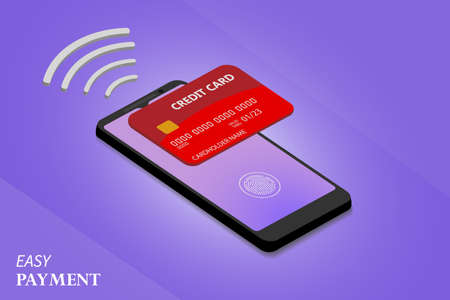 Vector illustration of smartphone with processing of mobile payments from credit card on the screen. Smartphone and payment.