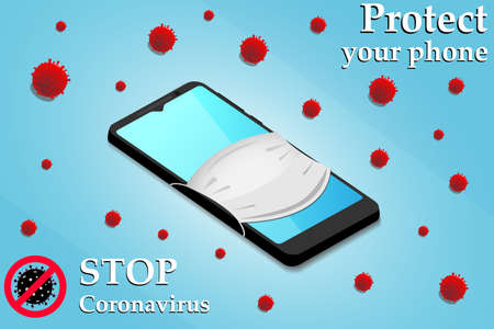 Cleaning mobile phone to eliminate germs. Novel coronavirus (2019-nCoV). Medical face mask on a smartphone. Protection against a dangerous virus. Stop coronavirus.