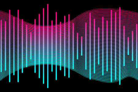 Social media concept. Music waves, gradient color background. Abstract sound wave stripe lines colorful equalizer isolated on black background. Vector illustration. EPS10