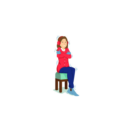 Freezing woman. High Quality design for your business. Illustration