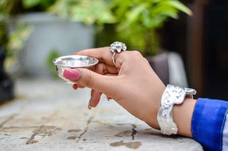 silver jewelry: Silver jewelry display.