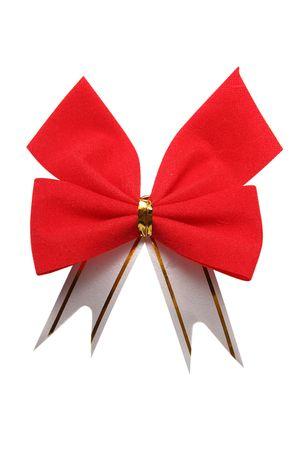 ravel: red bow on white background