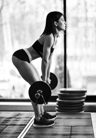 Fit beautiful girl doing squats with barbell in gym Stockfoto