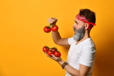 Gray-bearded, middle-aged male in red bandana, white t-shirt and bracelet. He is holding red tomatoes on twigs, looking wondered, posing standing sideways on orange background. Close up, copy space Stock Photo