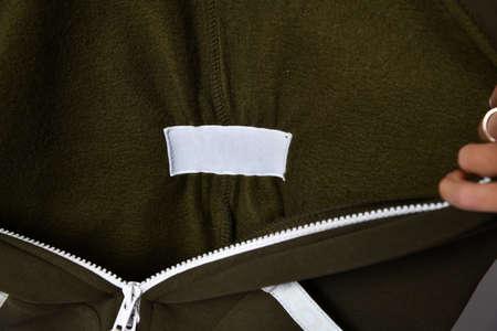 close detail of kids hoodie sweatshirt with zip fastener