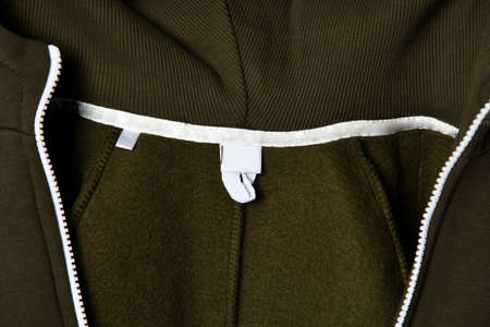 close detail of kids hoodie sweatshirt with zip fastener