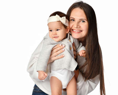 Happy mother and cute baby closeup isolated portrait