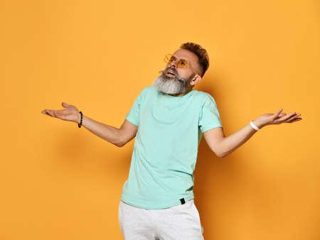 Displeased bearded man showing annoyance portrait