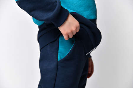 blue color fleece sports suit closeup studio shot