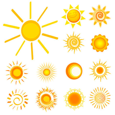 sol caricatura: colecci�n de sol Vectores