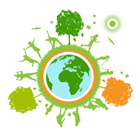 green world , planet Vector