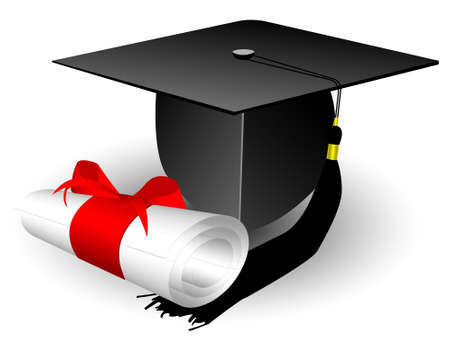 mortar board: cap and diploma Illustration