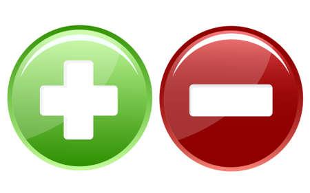 icona positivo e negativo