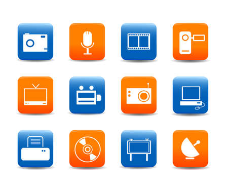 Web icons, buttons : multimedia on mobile Stock Vector - 8059311