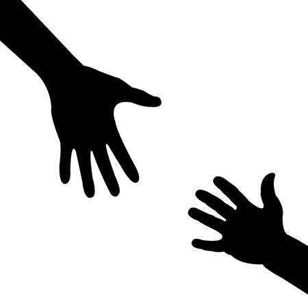 sentimientos y emociones: mano de silueta, ayudando a mano