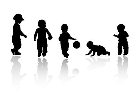 silhouettes of children: silhouettes - children