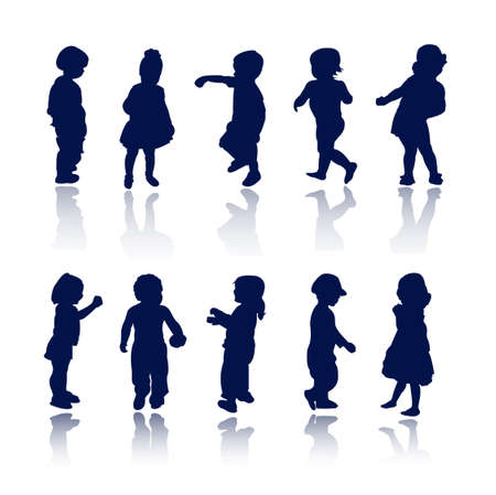 silhouettes - children Stock Vector - 8054081