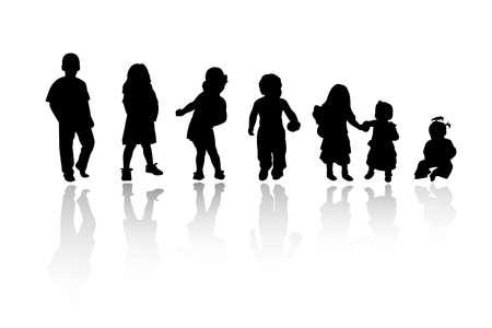 silhouettes - children Stock Vector - 8054096