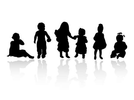 silhouettes - children Stock Vector - 8054104