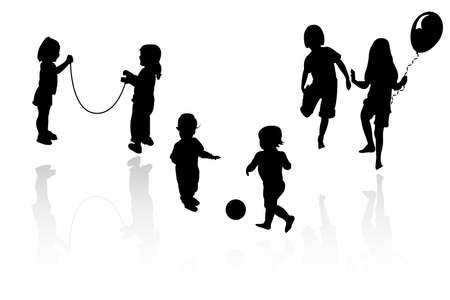 adolescent: silhouette girls and boys playing Illustration