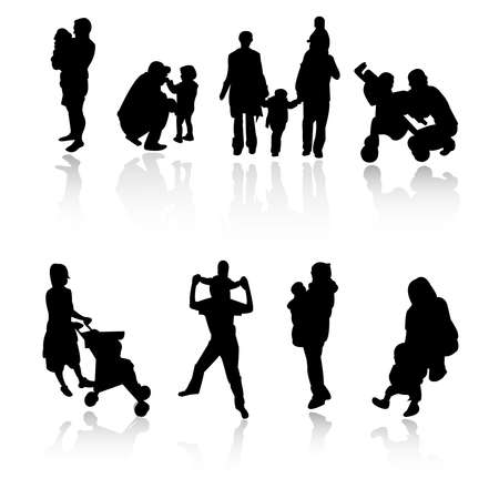 family silhouettes Stock Vector - 8052801