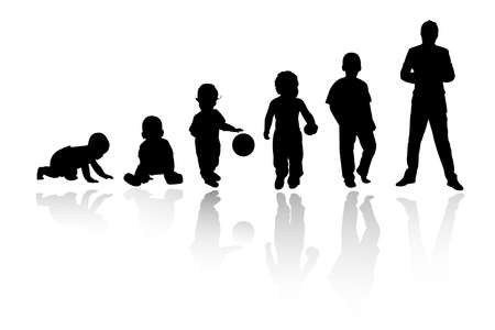 hombres maduros: persona de silueta  Vectores
