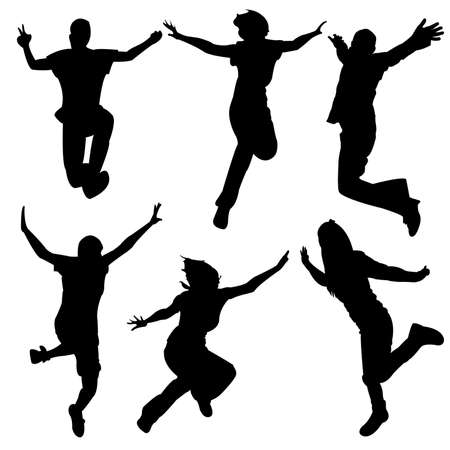 woman jump: silhouette people party dance