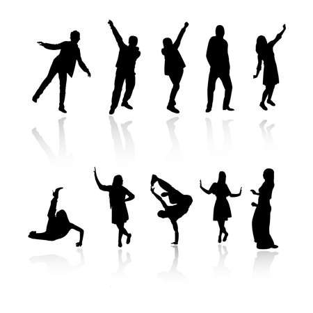exaltation: silhouette people party dance
