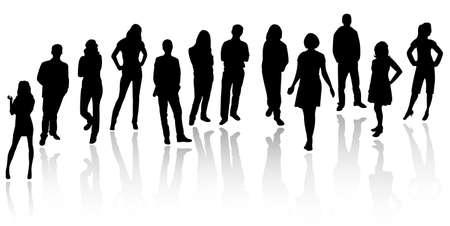 young people group: Silhouettes di uomini d'affari