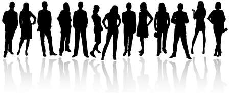 young people group: Sagome di uomini d'affari Vettoriali
