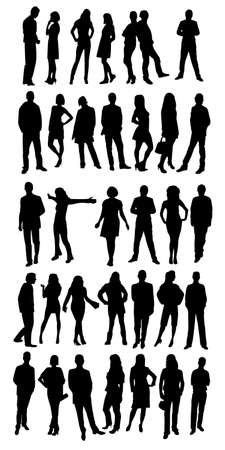 female silhouette: Silhouettes of business people Illustration