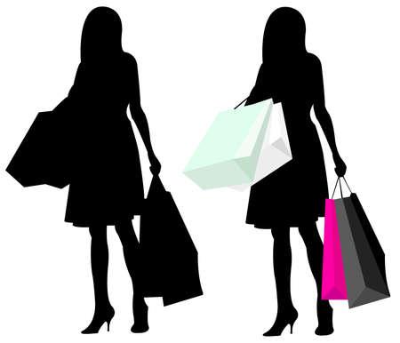 silhouet meisje winkelen  Vector Illustratie