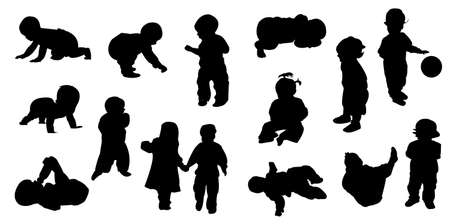 silhouettes - baby Stock Vector - 8054089
