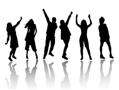 young youth: silhouette people party dance