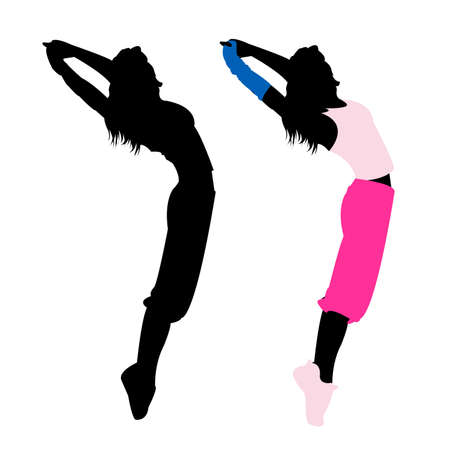 silhouette girl fitness, dance, exercise Vector