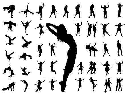 silhouette people jumping dance Stock Vector - 8054117