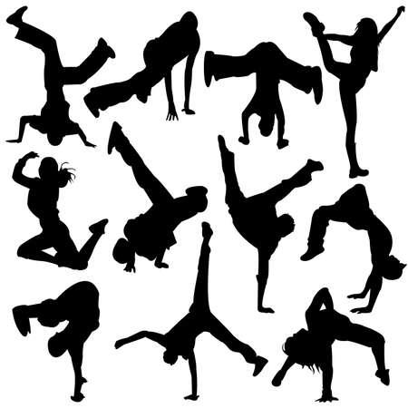 hanging woman: Silhouette di break dance - ragazza danza