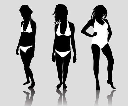 strip tease: silhouette girls bikini