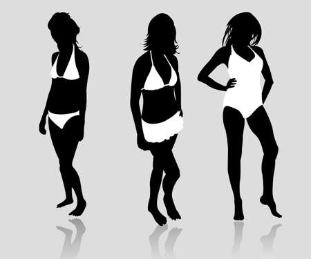 silhouette girls bikini Vector