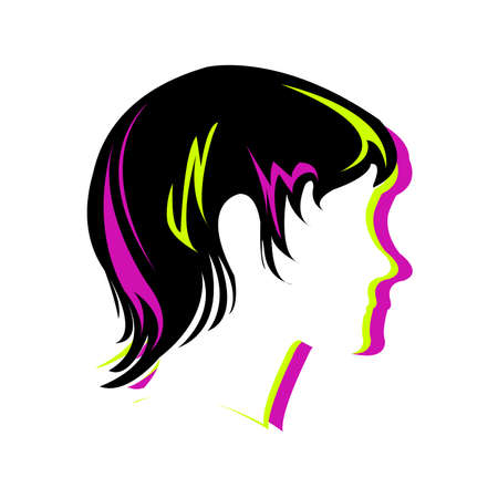 scissors icon: Silhouette hair style , face