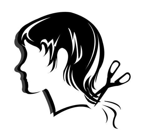 hair scissors: Silhouette hair style , face